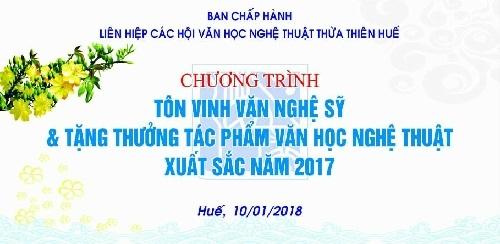 Thư mời dự Chương trình tôn vinh Văn nghệ sĩ & Tặng thưởng tác phẩm, công trình VHNT xuất sắc 2017