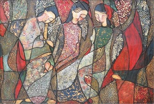 Tường Vân & nét ngại ngùng trong tranh thiếu nữ